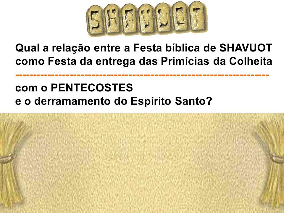 Qual a relação entre a Festa bíblica de SHAVUOT