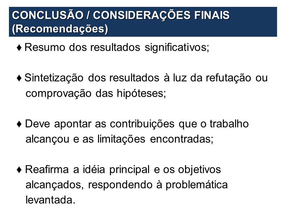 CONCLUSÃO / CONSIDERAÇÕES FINAIS