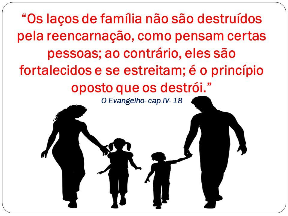 Os laços de família não são destruídos pela reencarnação, como pensam certas pessoas; ao contrário, eles são fortalecidos e se estreitam; é o princípio oposto que os destrói. O Evangelho- cap.IV- 18