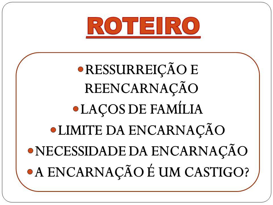 ROTEIRO RESSURREIÇÃO E REENCARNAÇÃO LAÇOS DE FAMÍLIA