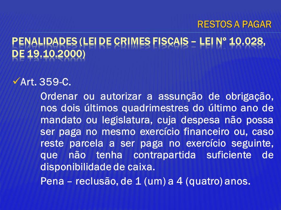 PENALIDADES (Lei de crimes fiscais – Lei nº 10.028, de 19.10.2000)