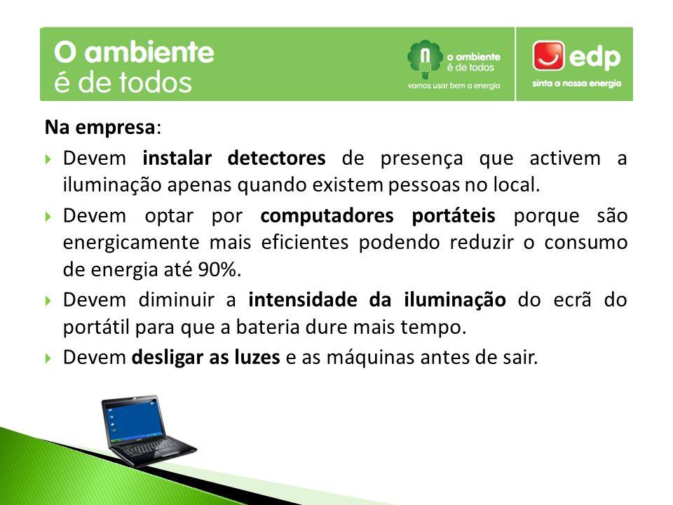 Na empresa: Devem instalar detectores de presença que activem a iluminação apenas quando existem pessoas no local.