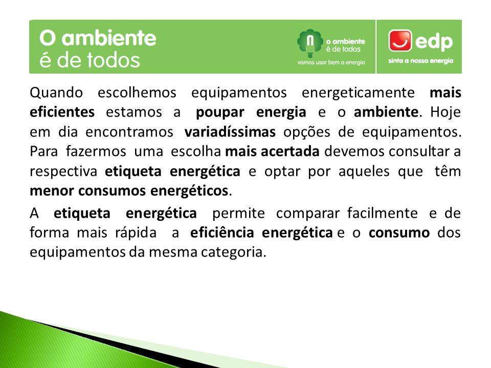 Quando escolhemos equipamentos energeticamente mais eficientes estamos a poupar energia e o ambiente.