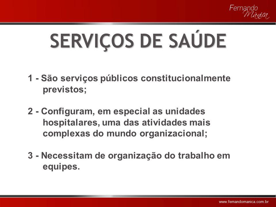 SERVIÇOS DE SAÚDE 1 - São serviços públicos constitucionalmente previstos;
