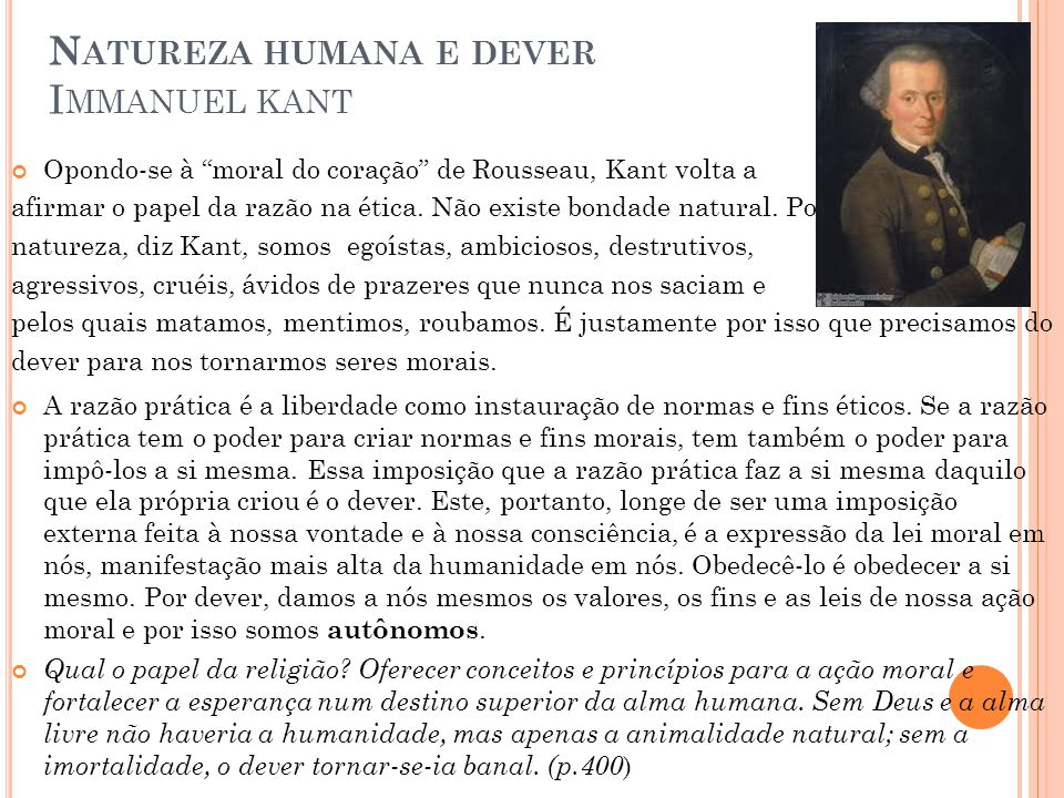 Natureza humana e dever Immanuel kant