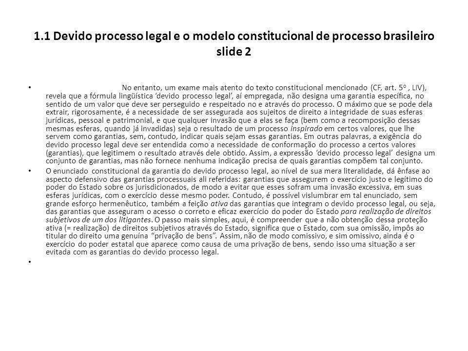 1.1 Devido processo legal e o modelo constitucional de processo brasileiro slide 2