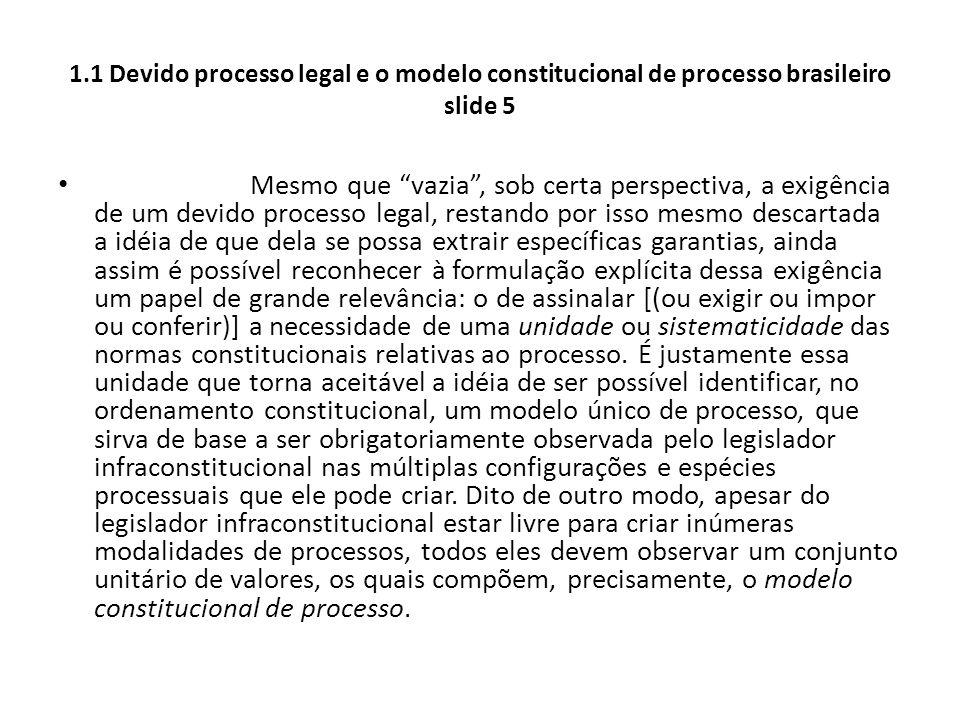 1.1 Devido processo legal e o modelo constitucional de processo brasileiro slide 5