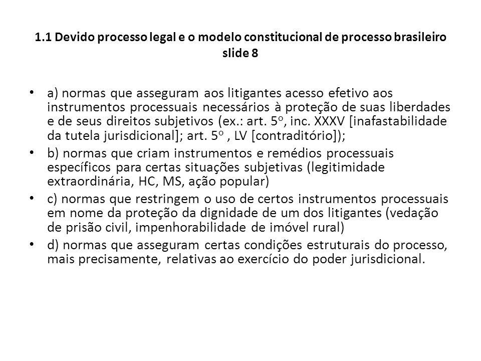 1.1 Devido processo legal e o modelo constitucional de processo brasileiro slide 8