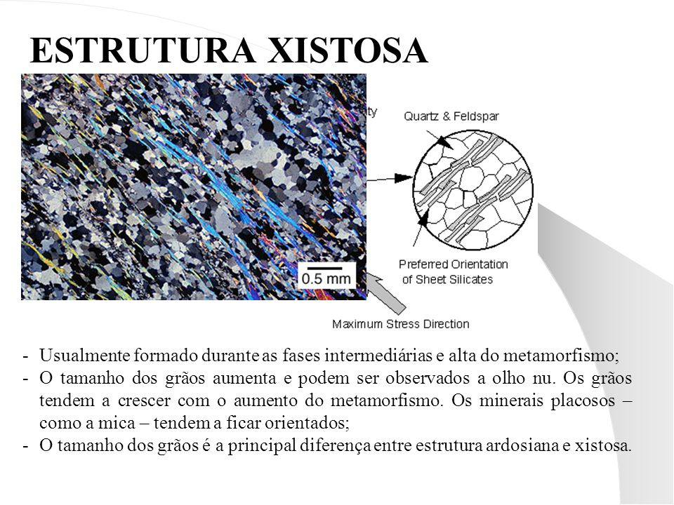 ESTRUTURA XISTOSA Usualmente formado durante as fases intermediárias e alta do metamorfismo;