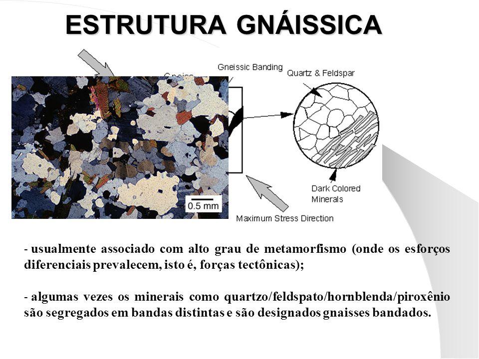 ESTRUTURA GNÁISSICA usualmente associado com alto grau de metamorfismo (onde os esforços diferenciais prevalecem, isto é, forças tectônicas);