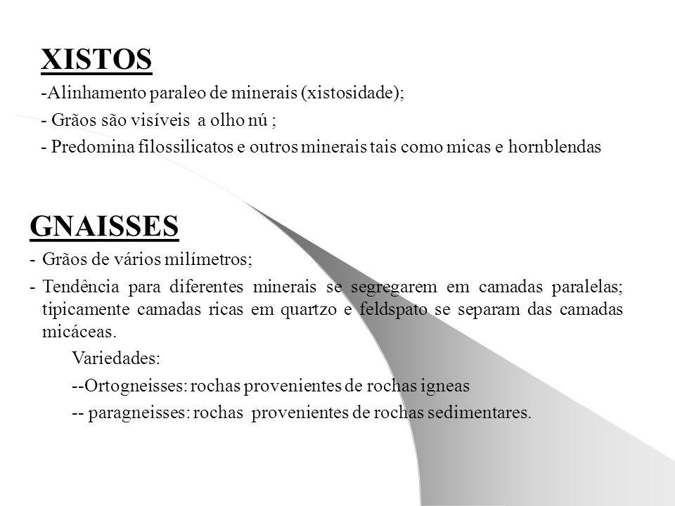 XISTOS GNAISSES -Alinhamento paraleo de minerais (xistosidade);