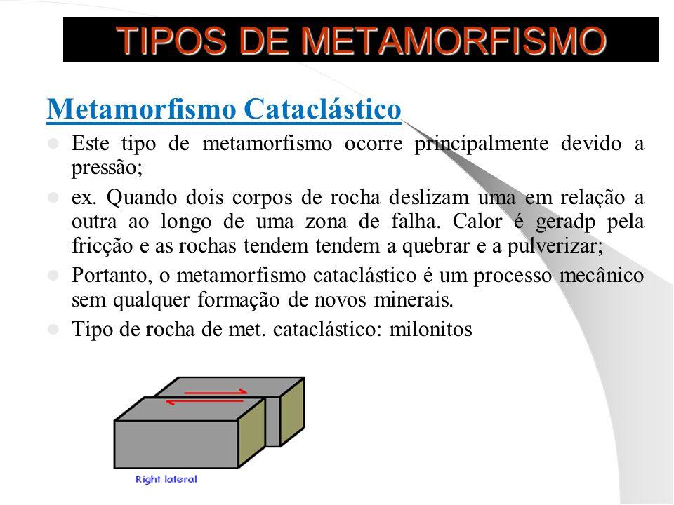 TIPOS DE METAMORFISMO Metamorfismo Cataclástico