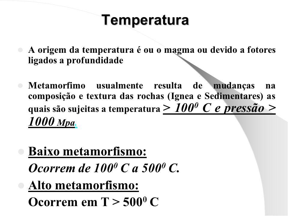 Temperatura Baixo metamorfismo: Ocorrem de 1000 C a 5000 C.