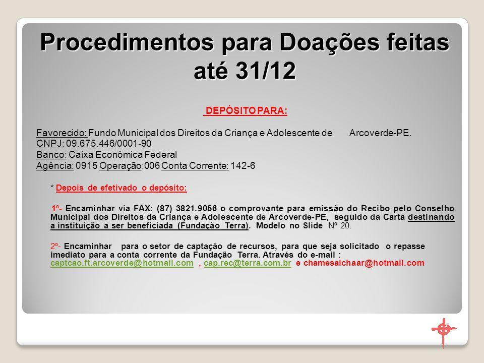 Procedimentos para Doações feitas até 31/12