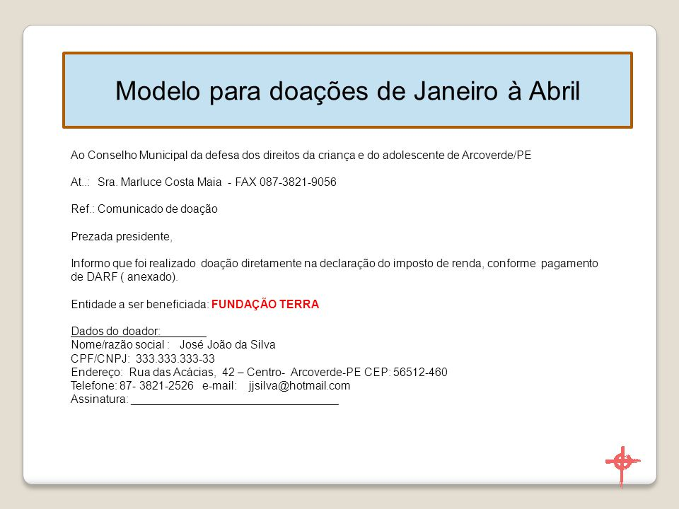 Modelo para doações de Janeiro à Abril