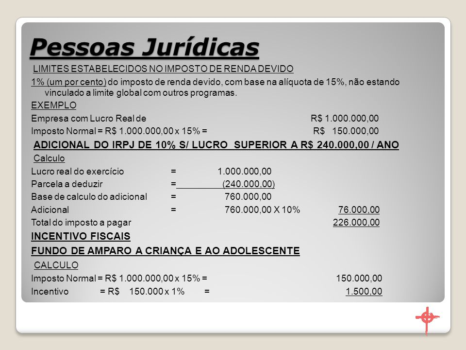 Pessoas Jurídicas INCENTIVO FISCAIS