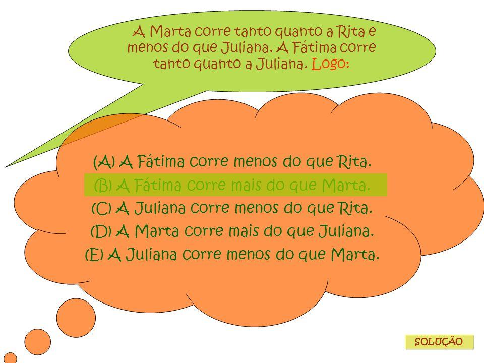 (A) A Fátima corre menos do que Rita.