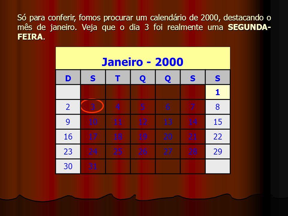 Só para conferir, fomos procurar um calendário de 2000, destacando o mês de janeiro. Veja que o dia 3 foi realmente uma SEGUNDA-FEIRA.