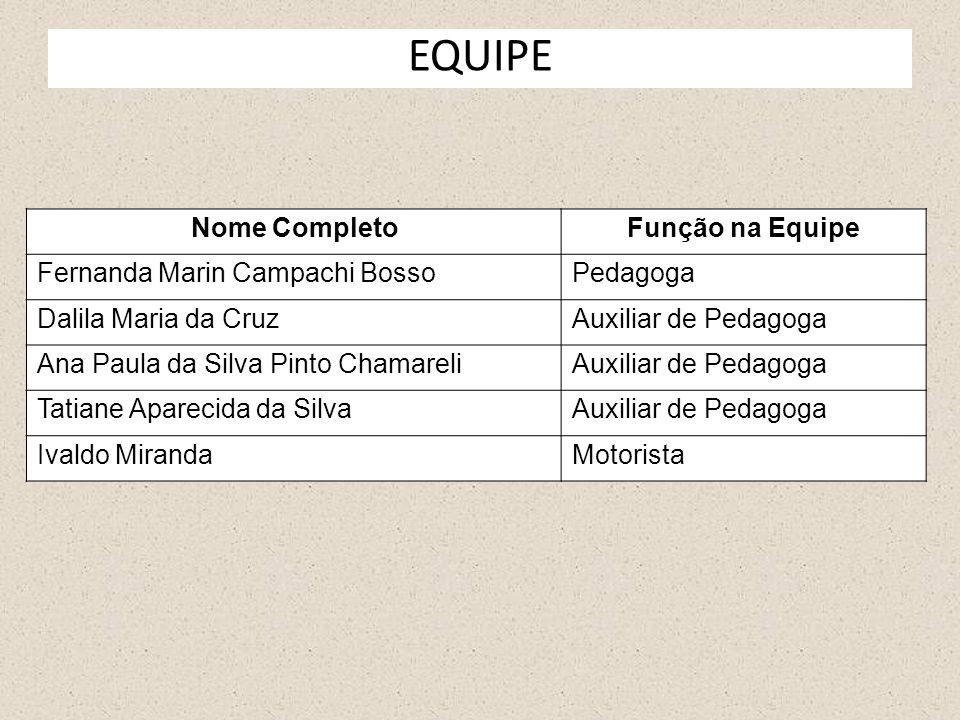 EQUIPE Nome Completo Função na Equipe Fernanda Marin Campachi Bosso