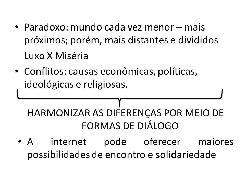 HARMONIZAR AS DIFERENÇAS POR MEIO DE FORMAS DE DIÁLOGO