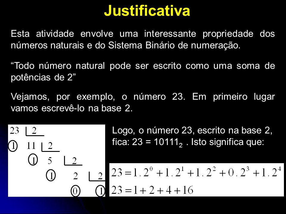 Justificativa Esta atividade envolve uma interessante propriedade dos números naturais e do Sistema Binário de numeração.
