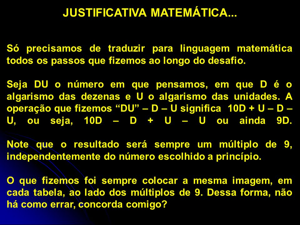JUSTIFICATIVA MATEMÁTICA...