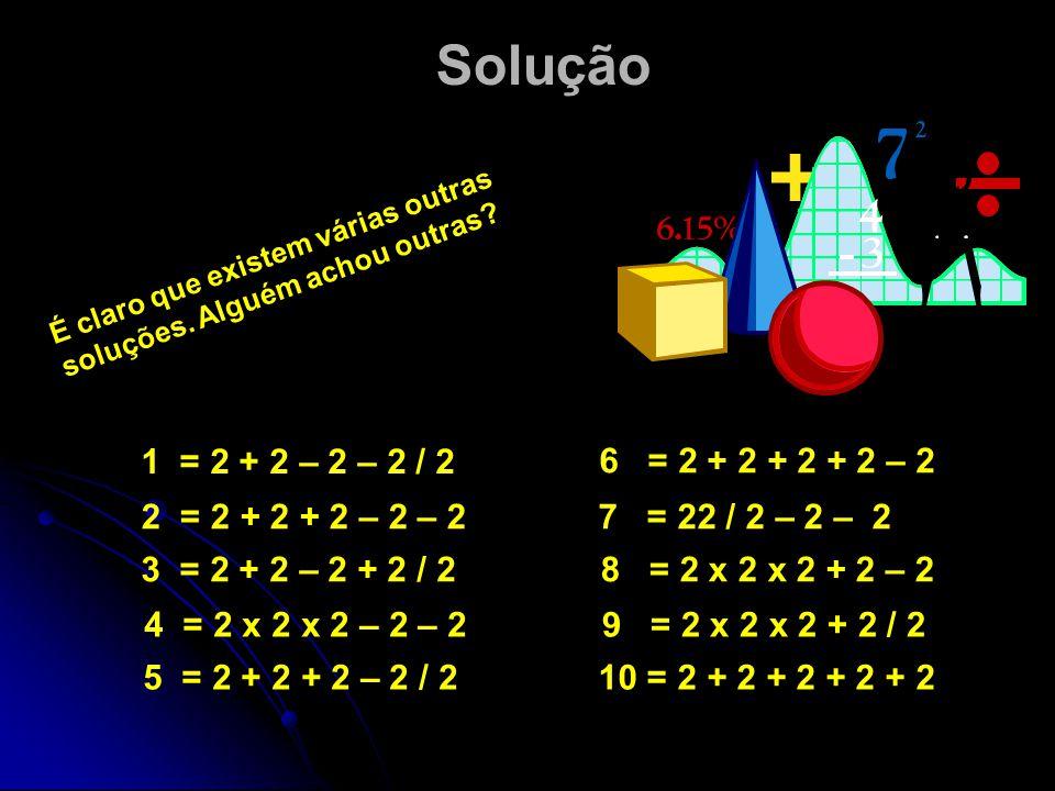 Solução É claro que existem várias outras soluções. Alguém achou outras 1 = 2 + 2 – 2 – 2 / 2. 6 = 2 + 2 + 2 + 2 – 2.