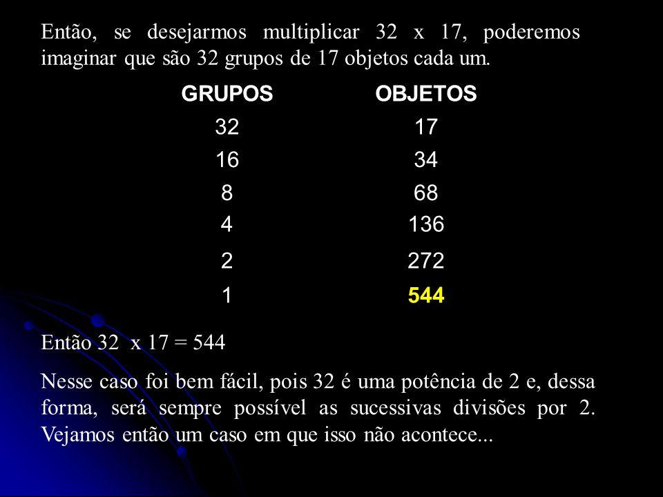 Então, se desejarmos multiplicar 32 x 17, poderemos imaginar que são 32 grupos de 17 objetos cada um.