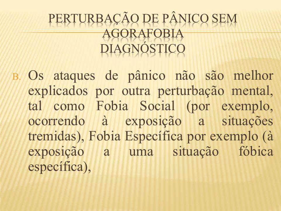 Perturbação de pânico sem agorafobia diagnóstico