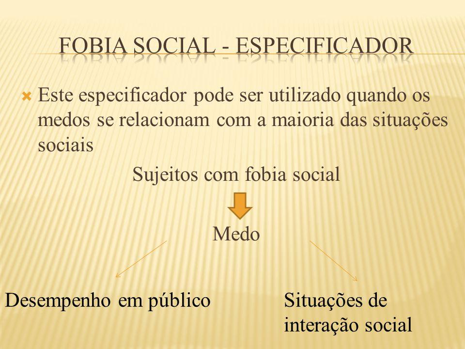 Fobia social - especificador