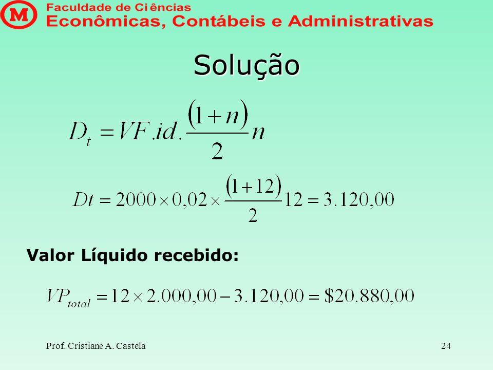 Solução Valor Líquido recebido: Prof. Cristiane A. Castela