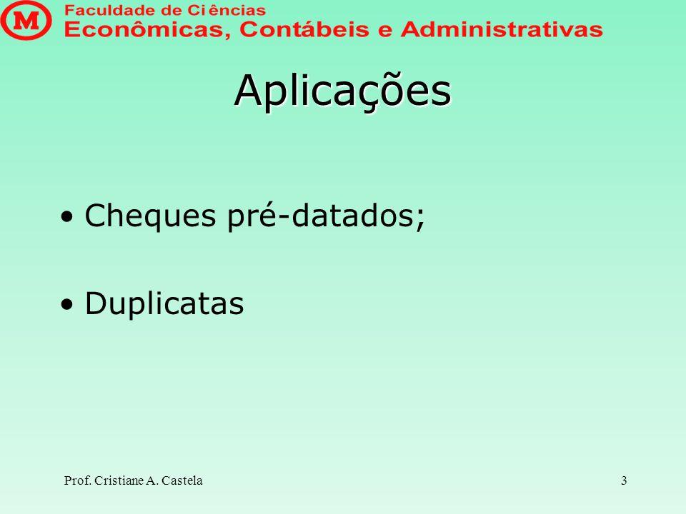 Aplicações Cheques pré-datados; Duplicatas Prof. Cristiane A. Castela