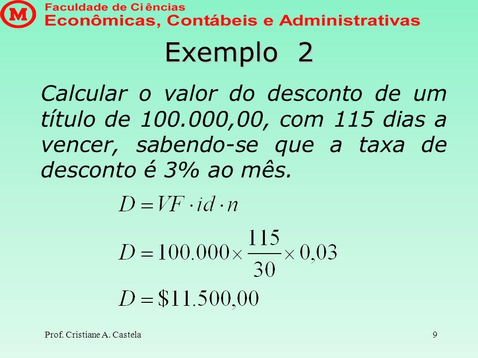 Exemplo 2 Calcular o valor do desconto de um título de 100.000,00, com 115 dias a vencer, sabendo-se que a taxa de desconto é 3% ao mês.