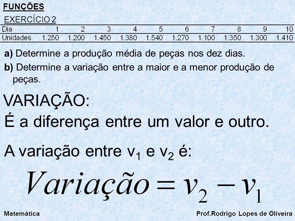 É a diferença entre um valor e outro. A variação entre v1 e v2 é: