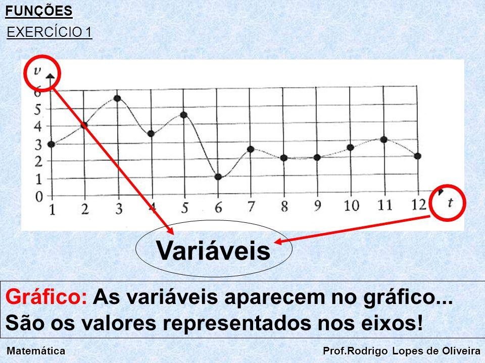FUNÇÕES EXERCÍCIO 1. Variáveis. Gráfico: As variáveis aparecem no gráfico... São os valores representados nos eixos!