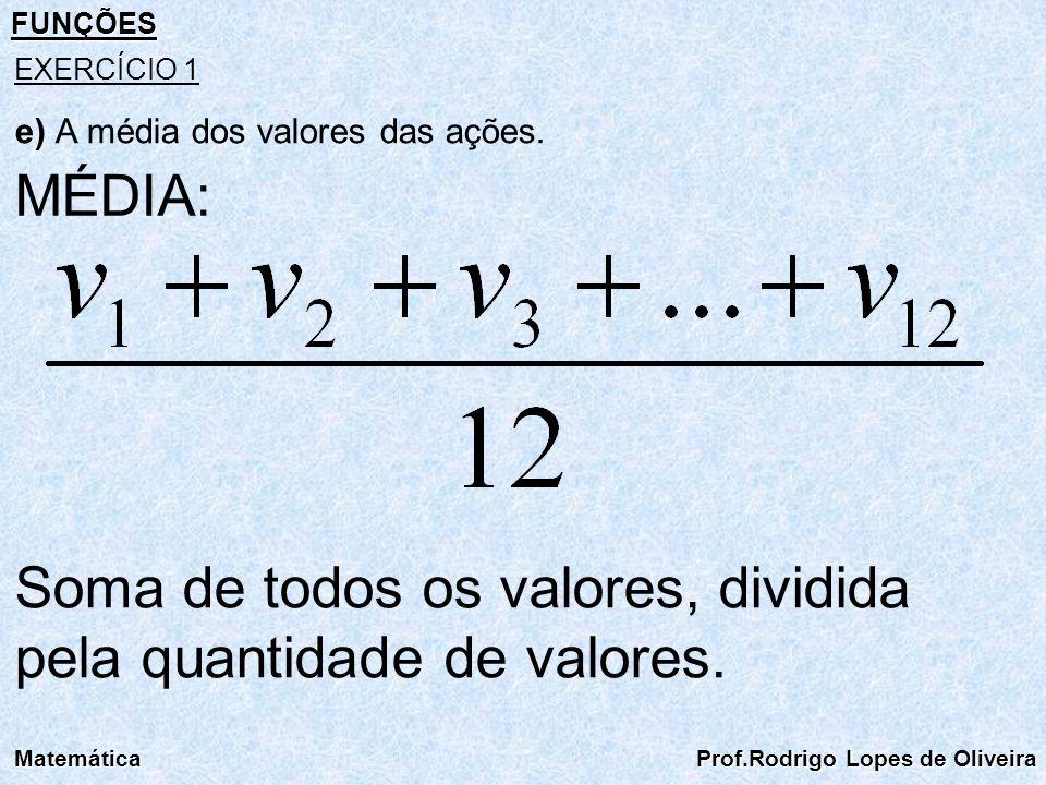 Soma de todos os valores, dividida pela quantidade de valores.