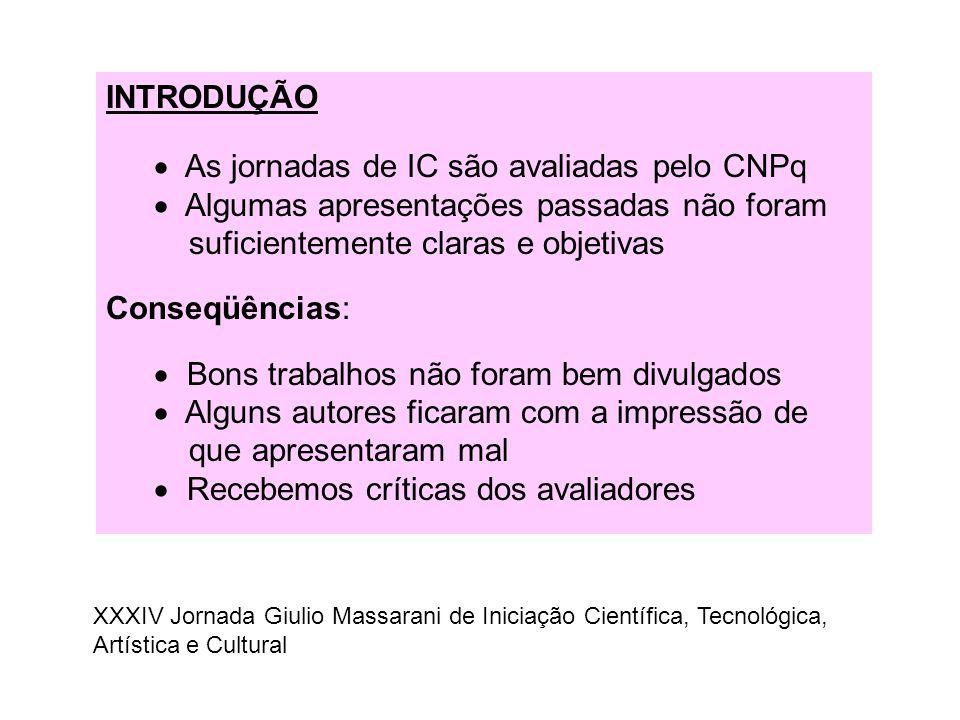 As jornadas de IC são avaliadas pelo CNPq