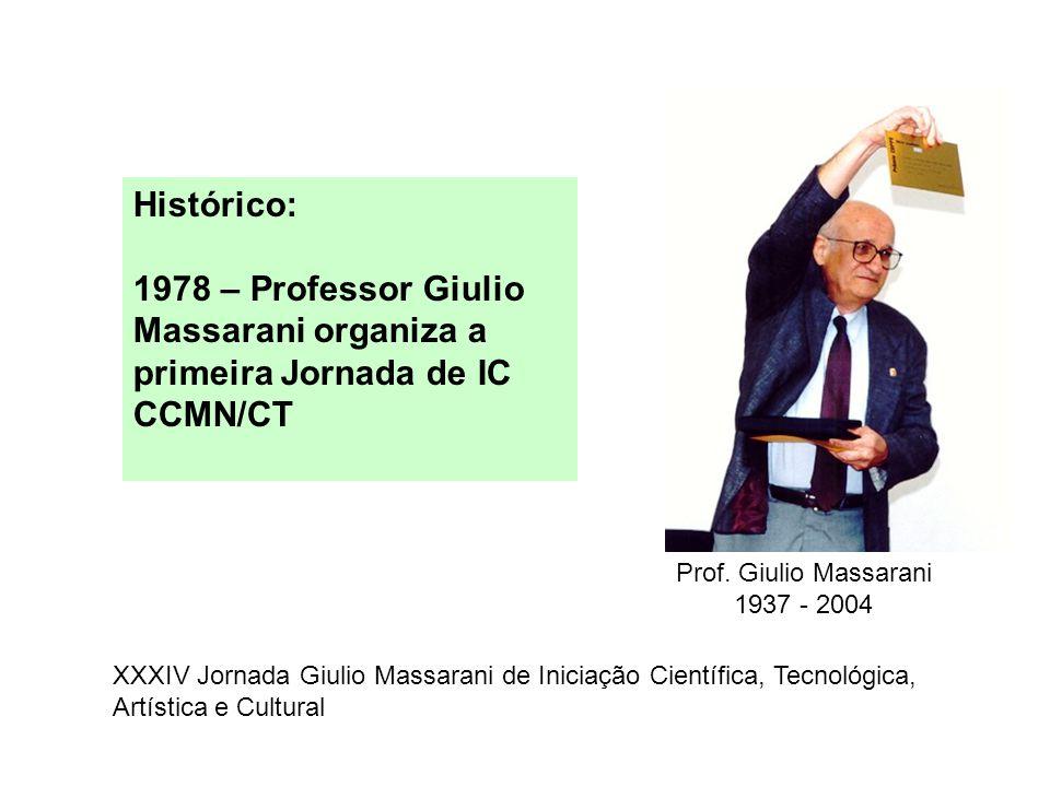Histórico: 1978 – Professor Giulio Massarani organiza a primeira Jornada de IC CCMN/CT. Prof. Giulio Massarani.