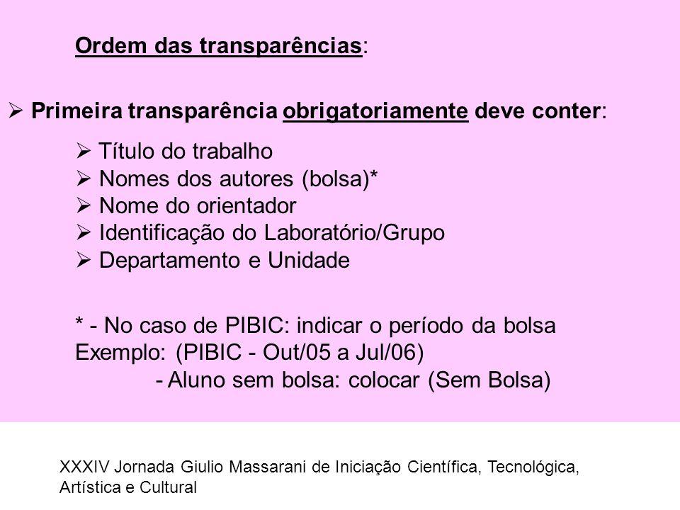 Ordem das transparências: