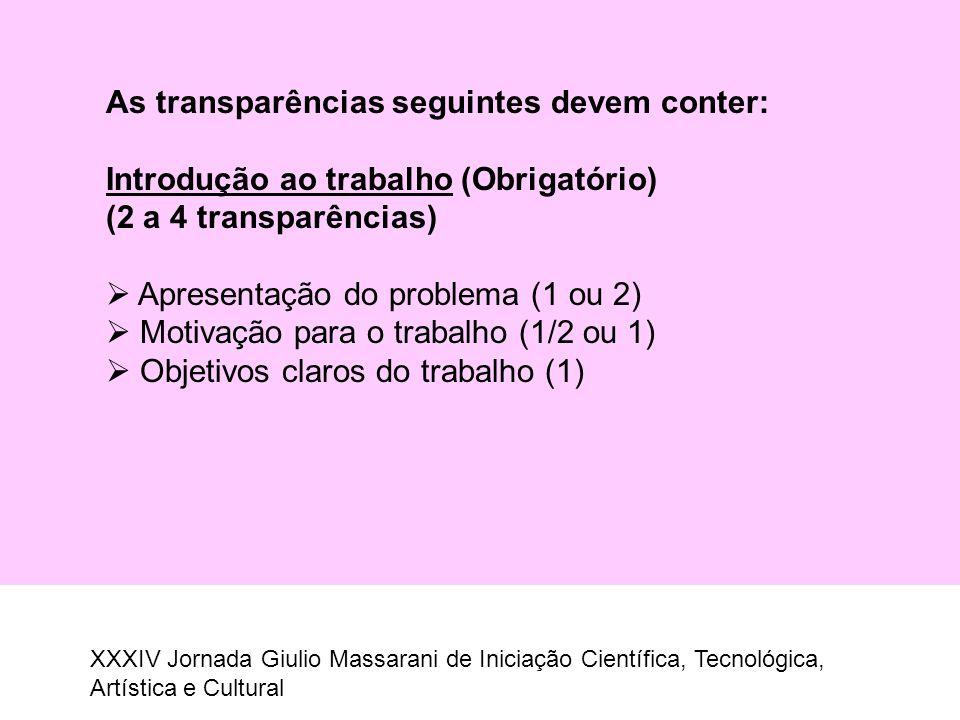 As transparências seguintes devem conter: