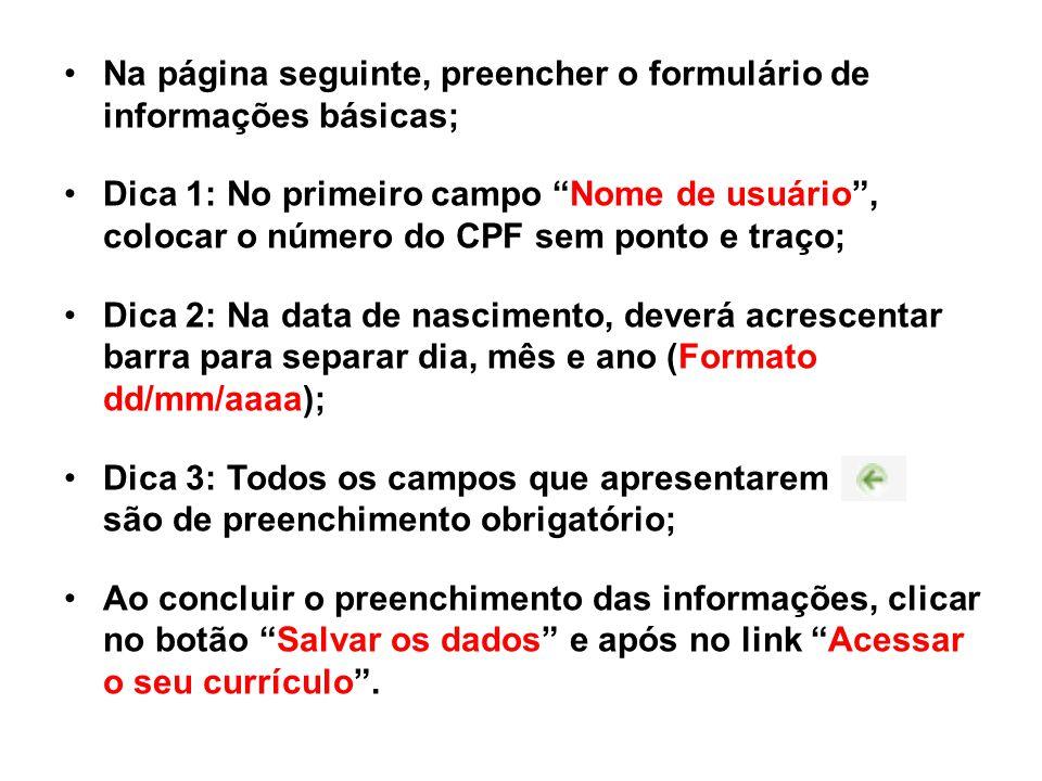 Na página seguinte, preencher o formulário de informações básicas;