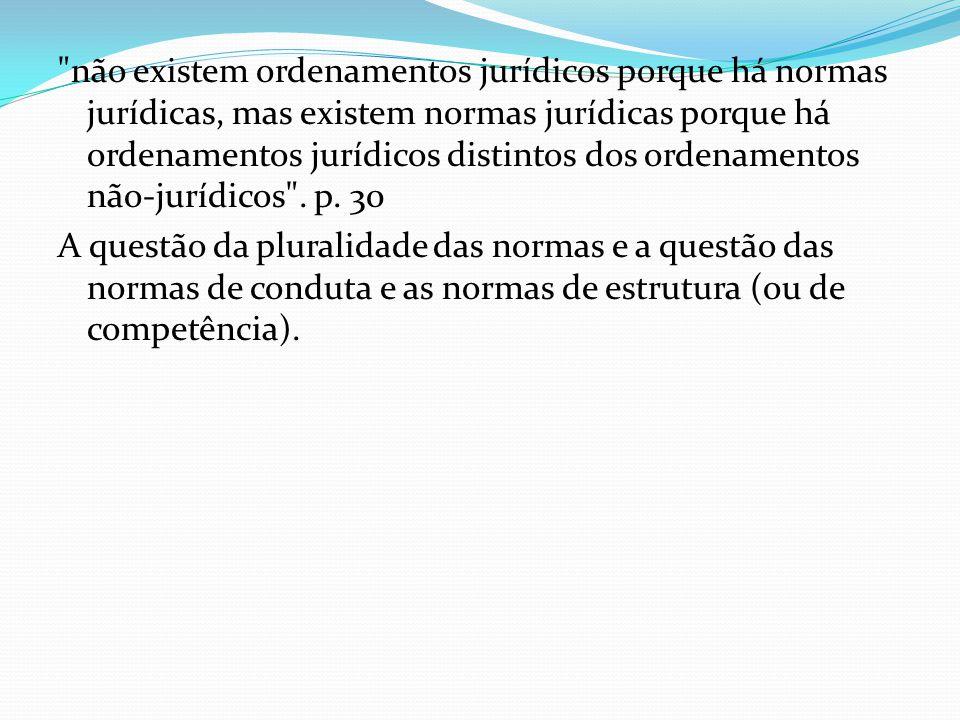 não existem ordenamentos jurídicos porque há normas jurídicas, mas existem normas jurídicas porque há ordenamentos jurídicos distintos dos ordenamentos não-jurídicos .
