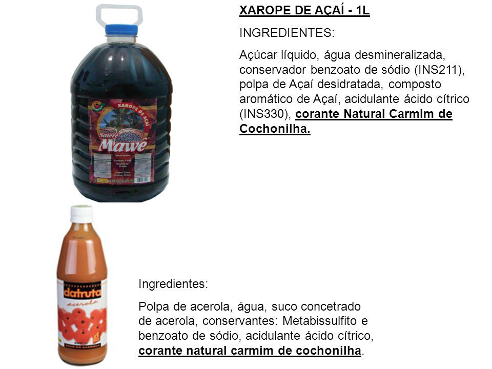 XAROPE DE AÇAÍ - 1L INGREDIENTES:
