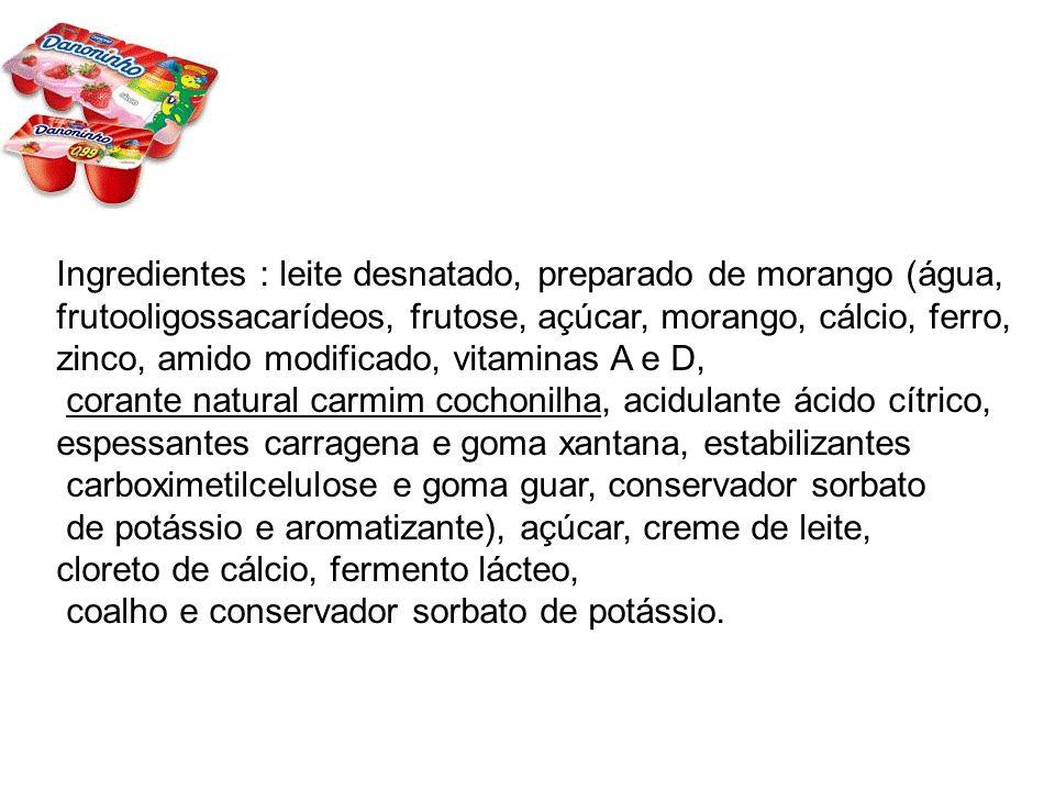 Ingredientes : leite desnatado, preparado de morango (água,