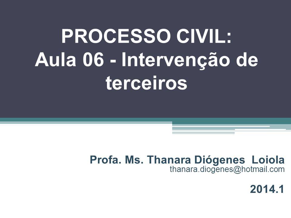 PROCESSO CIVIL: Aula 06 - Intervenção de terceiros