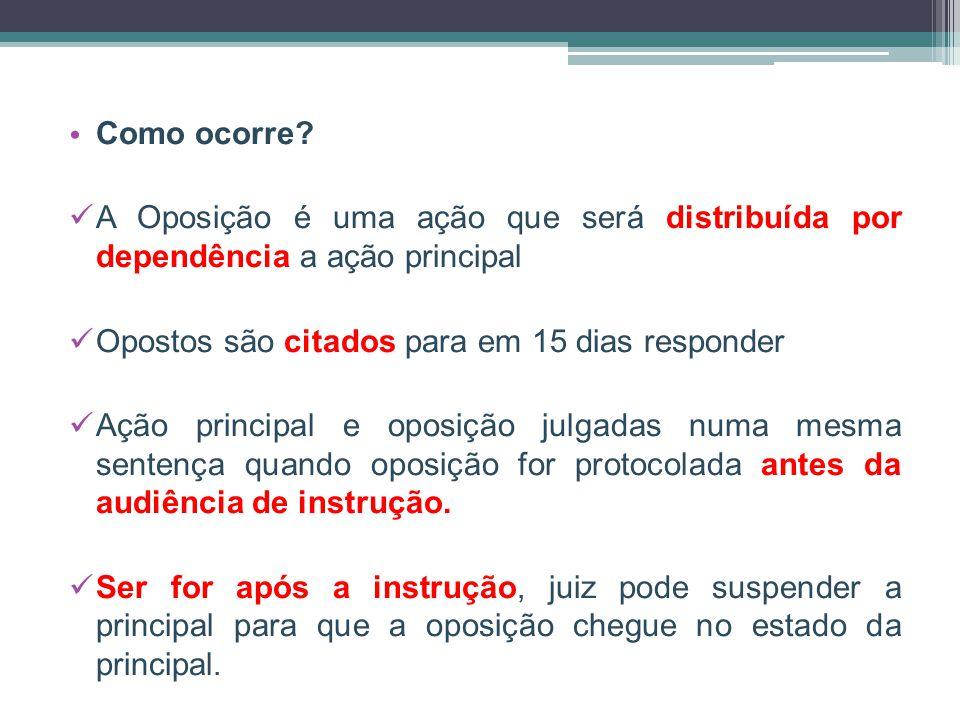 Como ocorre A Oposição é uma ação que será distribuída por dependência a ação principal. Opostos são citados para em 15 dias responder.