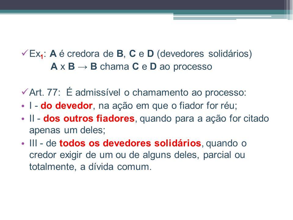 Ex1: A é credora de B, C e D (devedores solidários)