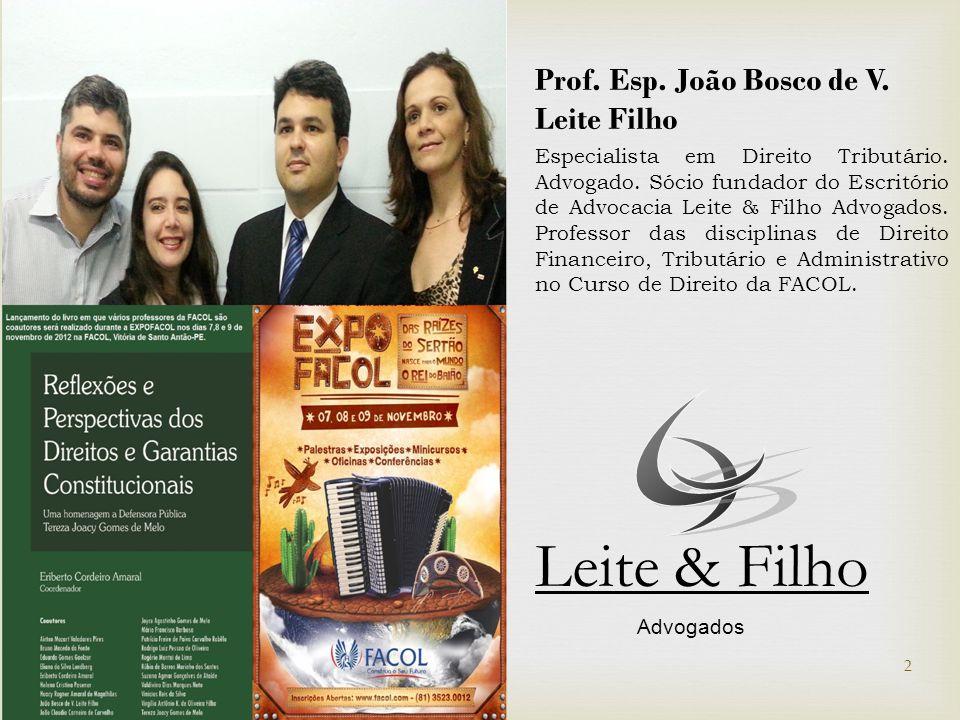 Prof. Esp. João Bosco de V. Leite Filho