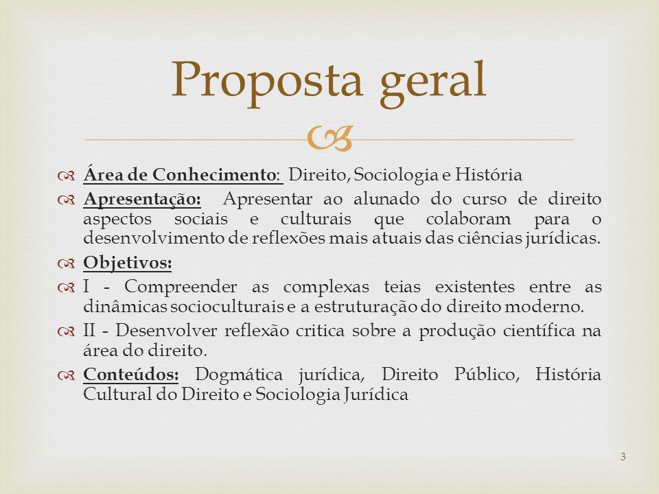 Proposta geral Área de Conhecimento: Direito, Sociologia e História