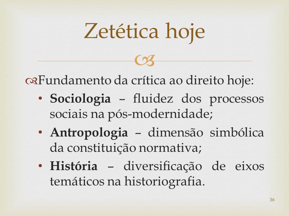 Zetética hoje Fundamento da crítica ao direito hoje: